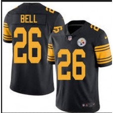 2016 New Nike Pittsburgh Steelers 26 Bell Navy Black Color Rush Limited Jersey