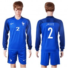2016 European Cup France home long sleeve 2 Jallet Blue Soccer Jersey